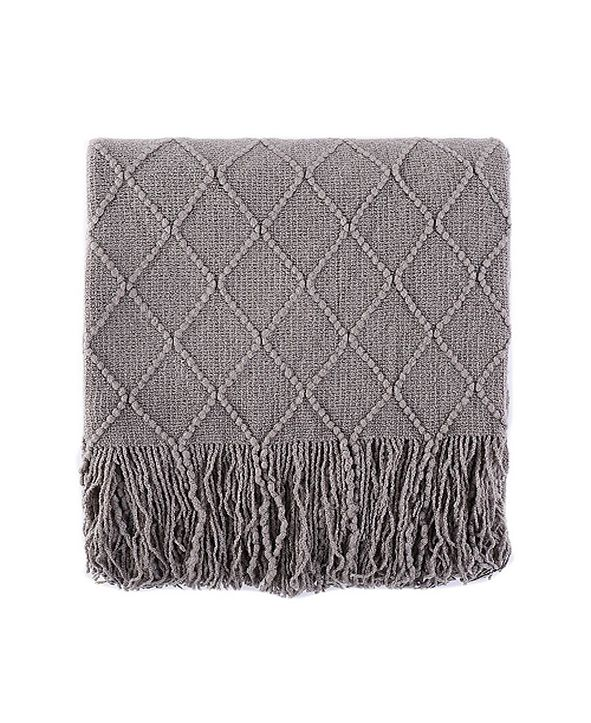 "Battilo Home Knit Diamond Patterned Throw, 80"" X 52"""