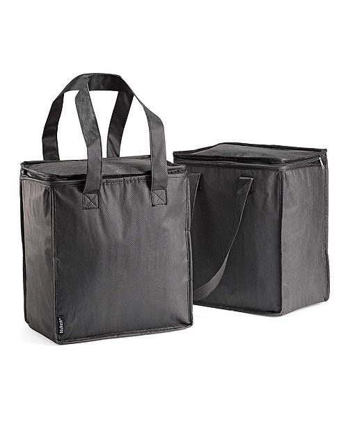 Set Of 2 Insulated Grocery Bags With Zipper