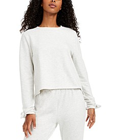 Juniors' Envelope-Back Bow-Cuff Cover-Up Sweatshirt, Created for Macy's
