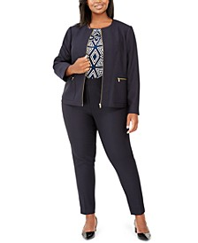 Plus Size Blazer, Printed Top & Slim-Leg Pants