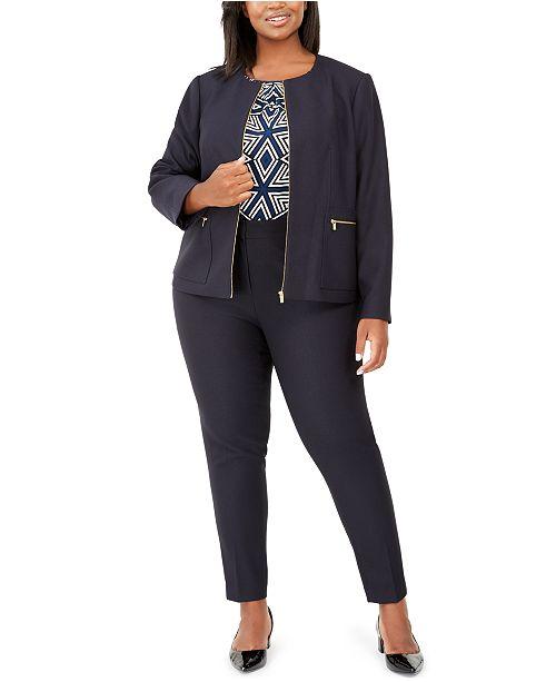 Calvin Klein Plus Size Blazer, Printed Top & Slim-Leg Pants
