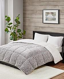 Reversible Micro Velvet and Sherpa Down Alternative King Comforter, Hypoallergenic