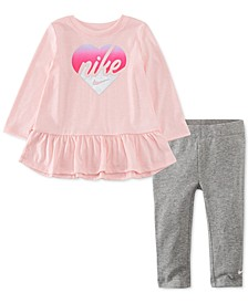 Baby Girls 2-Pc. Heart Peplum Tunic & Leggings Set