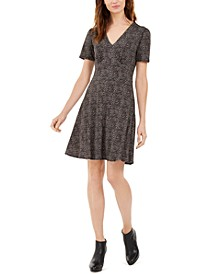 Petite Printed Short-Sleeve A-Line Dress