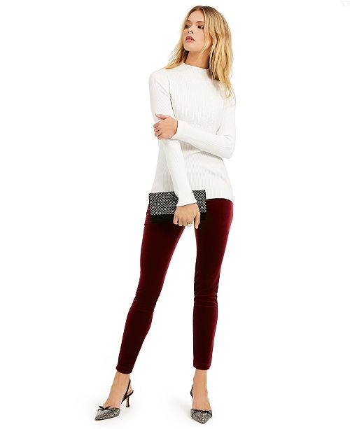 INC International Concepts I.N.C. Sequined Mock-Neck Top & Velvet Skinny Pants, Created For Macy's