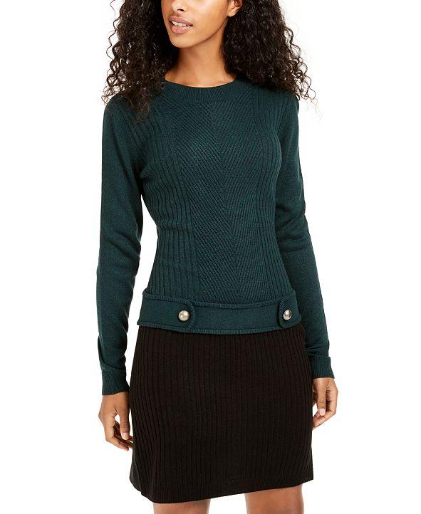 BCX Juniors' Colorblocked Drop-Waist Sweater Dress