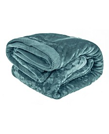Silky Soft Plush Blanket with Corduroy Trim - King