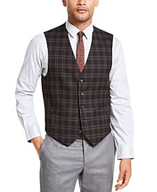 Men's Modern-Fit THFlex Stretch Black/Red Plaid Vest