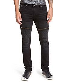 Men's Black Coated Moto Skinny Jeans