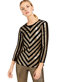 INC Velvet Sequined Chevron Top, Created For Macy's