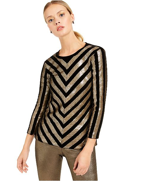 INC International Concepts INC Velvet Sequined Chevron Top, Created For Macy's