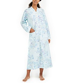 Printed Quilted Knit Long Zipper Robe