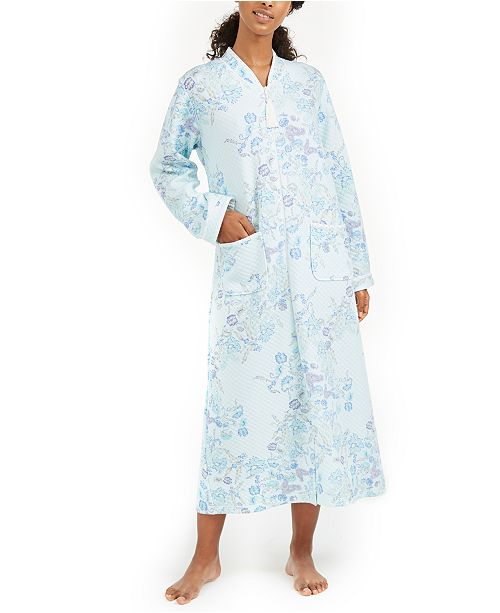 Miss Elaine Printed Quilted Knit Long Zipper Robe