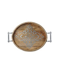 Large 25.5-Inch Long Wood and Metal Heritage Collection Oval Tray