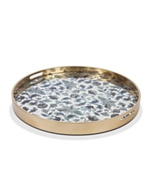 The GG Collection 25.8-Inch Etched Floral Collection Round Blue  Petite Floral Mirror Tray