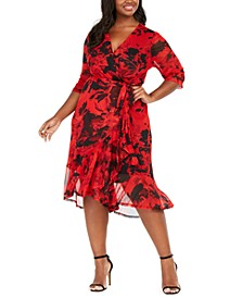 Plus Size Floral Mesh Wrap Dress