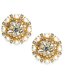 Gold-Tone Crystal, Stone & Imitation Pearl Button Earrings, Created For Macy's