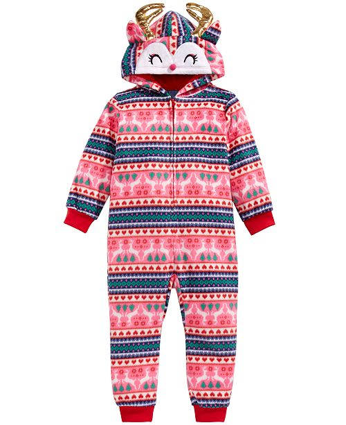 Max & Olivia Little & Big Girls 1-Pc. Reindeer Pajamas, Created For Macy's