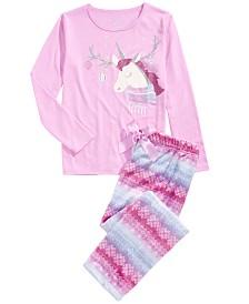 Max & Olivia Little & Big Girls 2-Pc. Unicorn Pajama Set