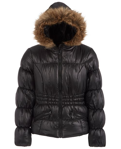 S Rothschild & CO Big Girls Hooded Puffer Jacket With Faux-Fur Trim