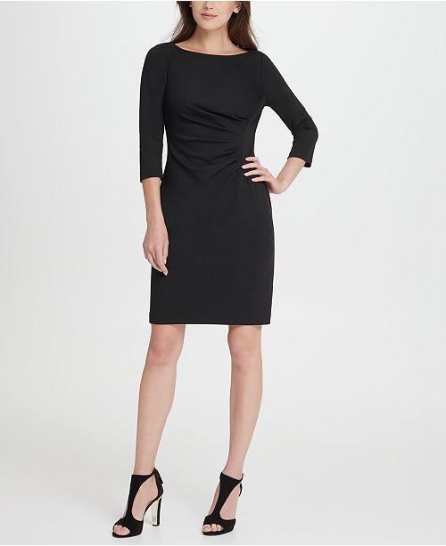 DKNY Ponte Side Ruche Sheath Dress