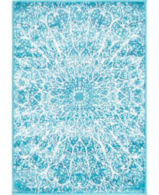Basha Bas4 Turquoise 5' x 8' Area Rug