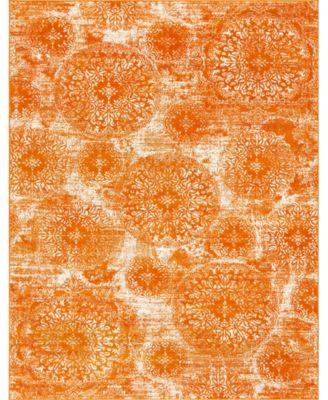 Basha Bas7 Orange 6' x 6' Square Area Rug