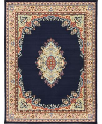 Birsu Bir1 Navy Blue 5' x 8' Area Rug