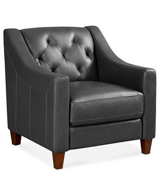 claudia ii leather living room chair - furniture - macy's