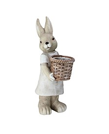 Neutral Tones Easter Girl Rabbit Outdoor Garden Planter