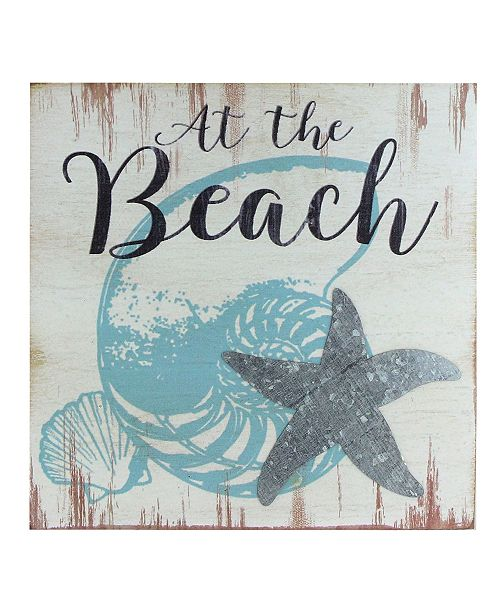 Northlight Decorative The Beach with Seashells and Starfish Distressed Wooden Wall Plague