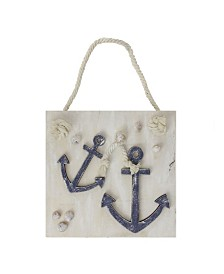 Northlight Cape Cod Inspired Double Anchor Wall Hanging Plaque with Seashells