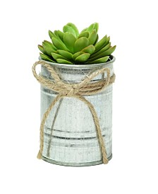 Northlight Lime Mini Artificial Sprouting Rose Succulent in Tin Planter with Twine Bow