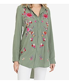 Embroidered Long Shirt with Roll-Up Sleeves
