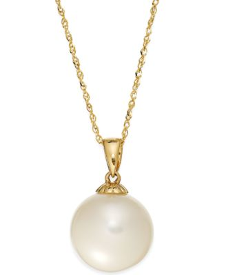 Pearl Necklace 14k Gold Cultured Freshwater Pearl Pendant 11mm