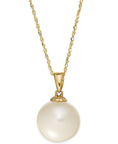 Macy S Pearl Necklace 14k Gold Cultured Freshwater Pearl Pendant