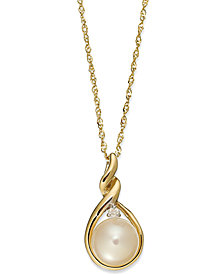 14k Gold Necklace, Cultured Freshwater Pearl and Diamond Accent Twist Pendant