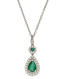 14k White Gold Necklace, Emerald (1 ct. t.w.) and Diamond (1/3 ct. t.w.) Pear Drop Pendant