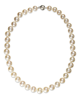 Pearl Necklace, 14k White Gold White Cultured South Sea Pearl Strand Necklace (10 12mm) by Macy's