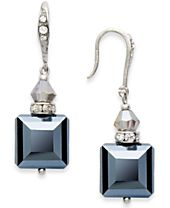 INC International Concepts Earrings, Silver-Tone Jet Square Bead Drop Earrings