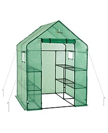 Deluxe Walk-in 2 Tier 8 Shelf Portable Lawn and Garden Greenhouse - Heavy Duty Anchors Included