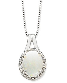 "Opal (1-1/2 ct. t.w.) & Diamond (1/10 ct. t.w.) 18"" Pendant Necklace in 14k White Gold"