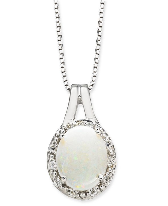 "Macy's Opal (1-1/2 ct. t.w.) & Diamond (1/10 ct. t.w.) 18"" Pendant Necklace in 14k White Gold"