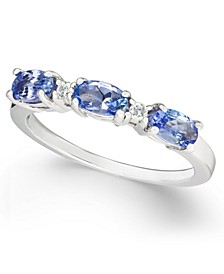 Tanzanite (3/4 ct. t.w.) & Diamond (1/20 ct. t.w.) Band in 14k White Gold