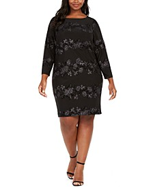 Plus Size Sparkle Floral Dress
