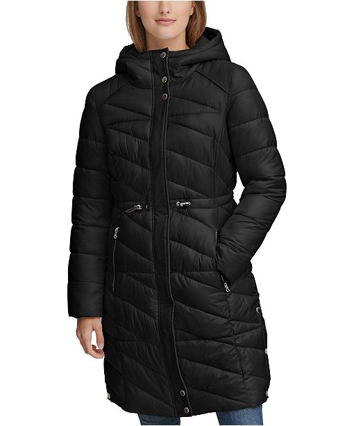 Andrew Marc Drawstring Hooded Puffer Coat