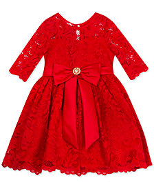 Rare Editions Baby Girls Glitter-Lace Dress
