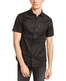 A|X Armani Exchange Men's Slim-Fit Stretch Ditsy Logo-Print Shirt
