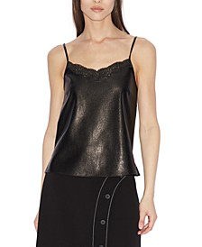 Faux-Leather & Lace Tank Top