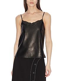 A X Armani Exchange Faux-Leather & Lace Tank Top